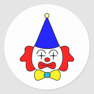Clown - funny face. classic round sticker