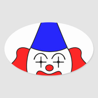 Clown - funny face. oval sticker