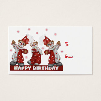 Clown Gift Tag Happy Birthday Business Card