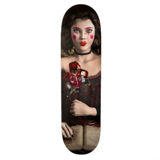 Clown girl with brown hair holding mask skateboard