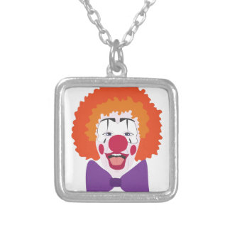 Clown Head Silver Plated Necklace