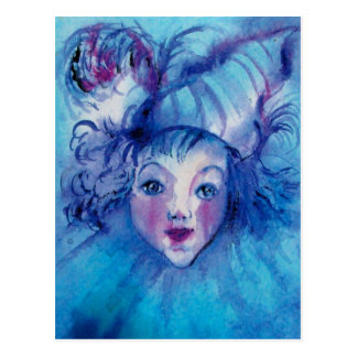 CLOWN IN BLUE POSTCARD