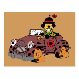 Clown in Car Postcard