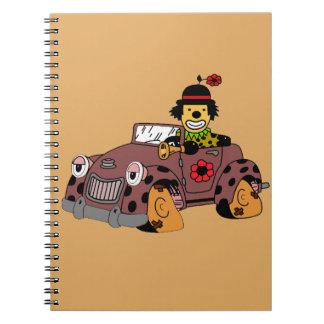 Clown in Car Spiral Notebook