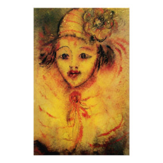CLOWN IN YELLOW / Venetian Carnival Faces Stationery