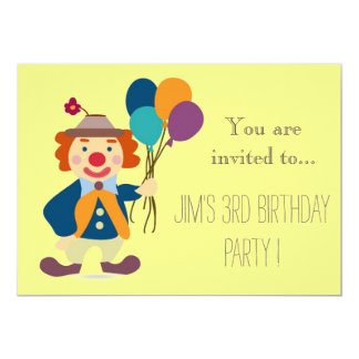 """Clown infant or toddler young kid birthday party 5"""" x 7"""" invitation card"""
