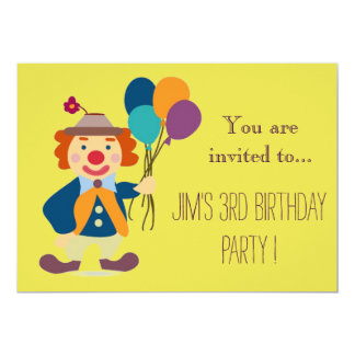 Clown infant or toddler young kid birthday party 5x7 paper invitation card