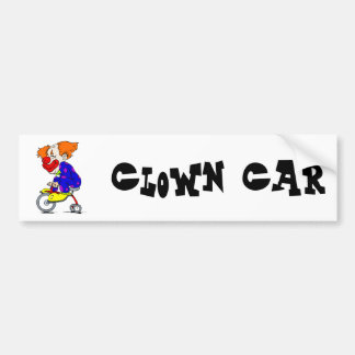 Clown on tricycle car bumper sticker