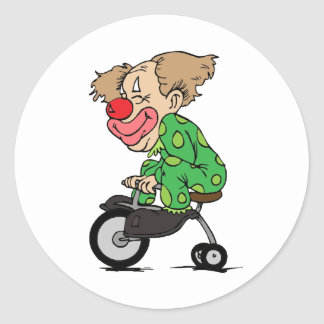 Clown on Tricycle Classic Round Sticker