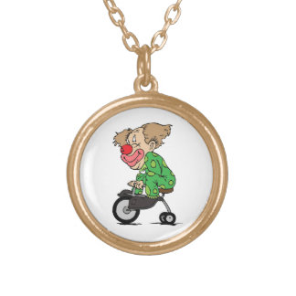 Clown on Tricycle Gold Plated Necklace