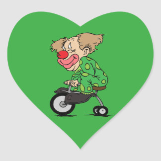 Clown on Tricycle Heart Sticker