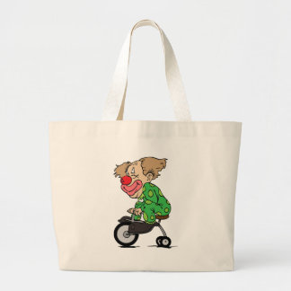 Clown on Tricycle Large Tote Bag