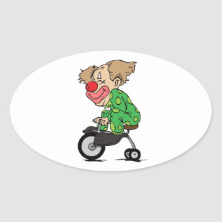 Clown on Tricycle Oval Sticker