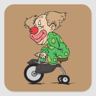 Clown on Tricycle Square Sticker