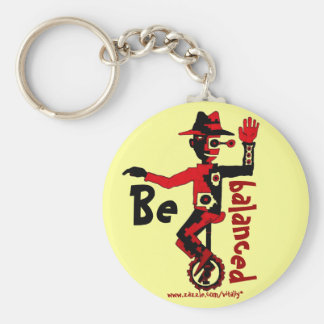 Clown on unicycle abstract graphic art keychain