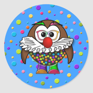 clown owl classic round sticker
