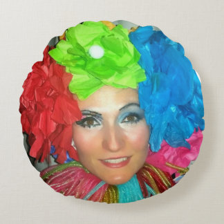 clown pillow round circus rainbow jester