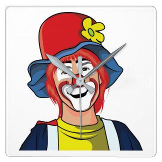 Clown Square Wall Clock