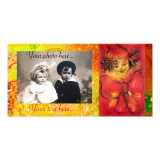 CLOWN WITH RED BOW IN GOLD FLORAL SPARKLES PHOTO CARD