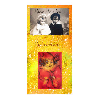 CLOWN WITH RED BOW IN GOLD FLORAL SPARKLES PHOTO CARD TEMPLATE