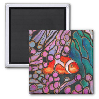 "Clownfish Sea Anemone ""Stained Glass"" design! Magnet"