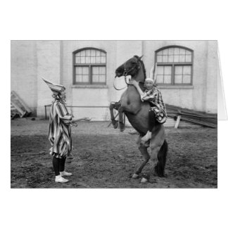 Clowning Around on a Horse, 1915 Greeting Card