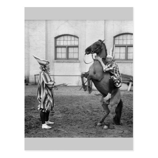 Clowning Around on a Horse, 1915 Post Cards