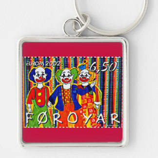 Clowns Stamp Faroe Islands Denmark Silver-Colored Square Keychain