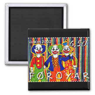 Clowns Stamp Faroe Islands Denmark Square Magnet