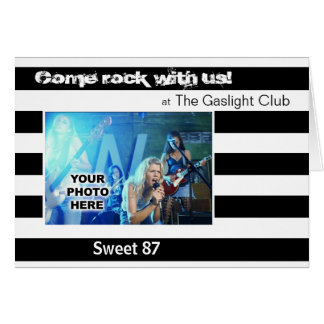 Club Band Party Photo Invitation (Stripes)
