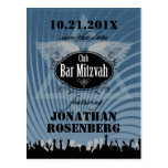 Club Bar Mitzvah Save the Date in Blue Postcard