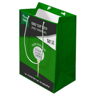 Club/Corporate Golf Tournament add logo and photo Medium Gift Bag