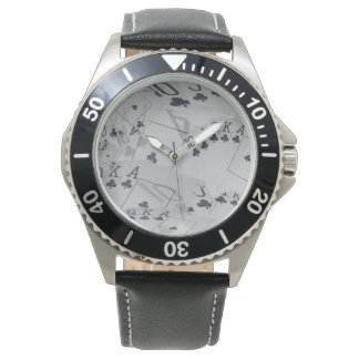 Club_Flush,_Mens_Stainless_Steel_Leather_Watch. Wristwatches