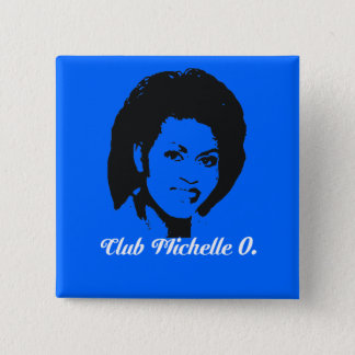Club Michelle O Button, Cerulean Blue 2 Inch Square Button