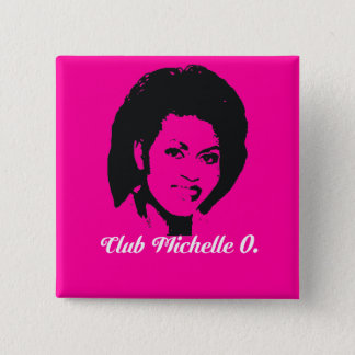 Club Michelle O. Button, Hot Pink 2 Inch Square Button