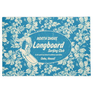 Club Surfing Longboard Logo and Hibiscus Azure Doormat