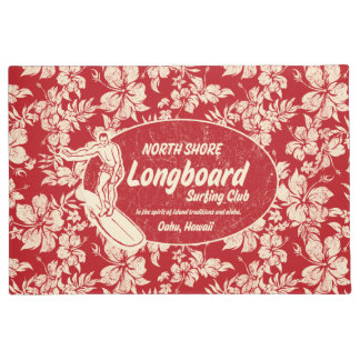 Club Surfing Longboard Logo and Hibiscus Red Doormat