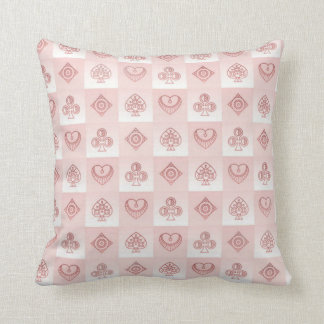 Clubs Spades and Hearts Throw Pillow