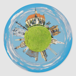 cluj napoca city romania little planet landmark ar classic round sticker
