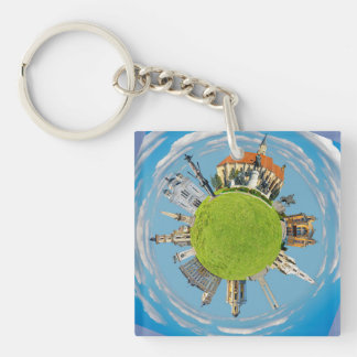 cluj napoca city romania little planet landmark ar Double-Sided square acrylic keychain