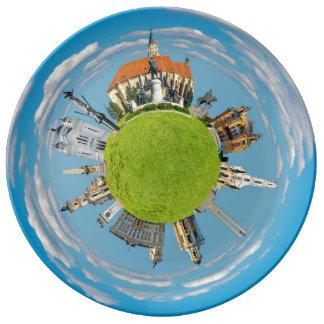cluj napoca city romania little planet landmark ar porcelain plates