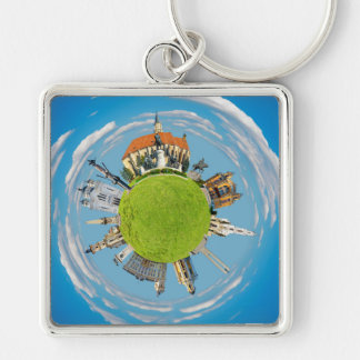 cluj napoca city romania little planet landmark ar Silver-Colored square keychain
