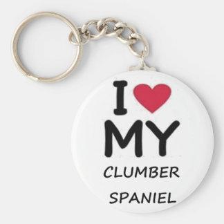 clumber love basic round button keychain