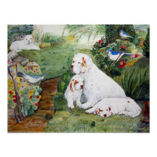 Clumber Puppies in the Garden, Watercolor Reproduc Poster