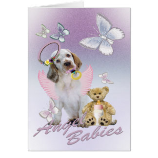 Clumber Spaniel Angel Baby Cards