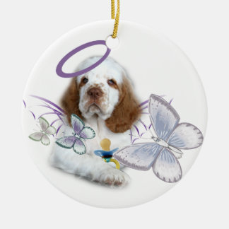 Clumber Spaniel Angel Baby Ceramic Ornament