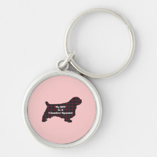 Clumber SPANIEL BFF Silver-Colored Round Keychain