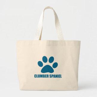 CLUMBER SPANIEL DOG DESIGNS LARGE TOTE BAG