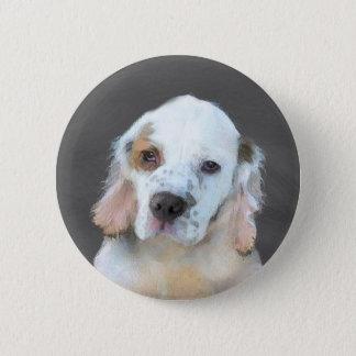 Clumber Spaniel Painting - Cute Original Dog Art 2 Inch Round Button