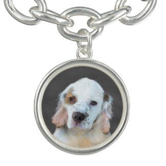 Clumber Spaniel Painting - Cute Original Dog Art Bracelet